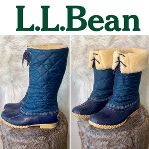 LL Bean •Quilted Tall Shearling lined Duck boots